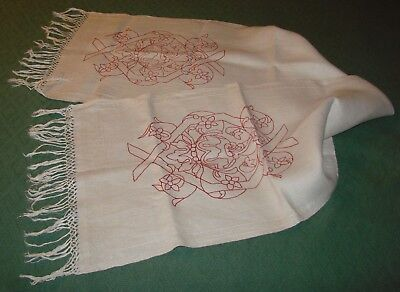 Antique Linen Turkey Red Fringed Runner, Piano Scarf - H19