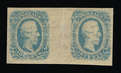 Genuine Confederate Csa Scott #12 Gutter Pair Mint Og Lgt Blue Die-B Archer Daly