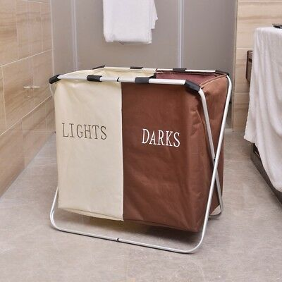 Oxford Cloth Foldable Double Lattice Clothes Organizer Laundry Basket Hamper