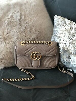 fa771139050a Authentic Gucci GG Marmont Mini Matelassé Shoulder Bag in Porcelain Rose  Leather