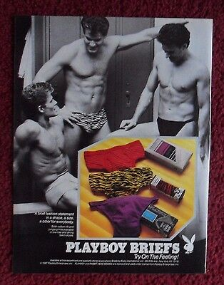1987 Print Ad Playboy Men's Underwear Briefs ~ Try on the Feeling