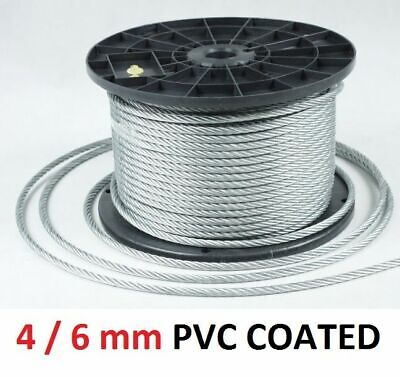 6mm Galvanised Steel Clear PVC Plastic Coated Wire Rope Boat Gym Washing Per M
