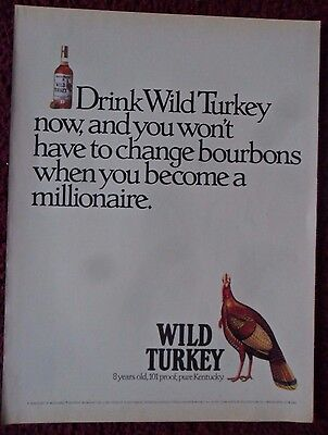 1989 Print Ad Wild Turkey Bourbon Whiskey ~ When You Become A Millionaire