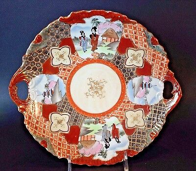 Nippon Satsuma Large Serving Dish With Handles - Hand Painted Red Imari - Japan