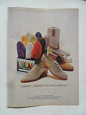 1980 Print Ad Crayons Shoes Footwear Fashion ~ Packed One Color to the Box