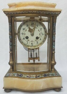Antique French Onyx Mantel Clock - Samuel Marti