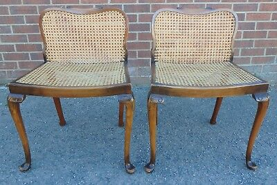 Pair Edwardian antique Queen Anne solid carved walnut caned bergere stools seats