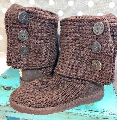 Ugg Australia Classic Cardy ll Brown Sweater Knit Knee High Boots size 8 M