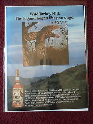 1984 Print Ad Wild Turkey Bourbon Whiskey ~ The Legend Began 150 Years Ago