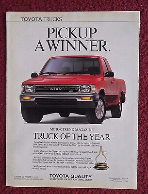 1989 Print Ad Toyota 4X2 Pick-Up Truck ~ Motor Trend Truck of the Year