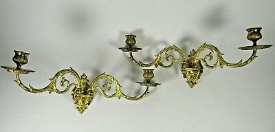 PAIR French Antique Victorian E.MULLER Gilt Bronze Wall Piano Candle Sconce
