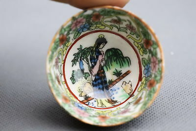 Collectable Handwork Old Porcelain Paint Chinese Ancient Belle Exquisite Teacup