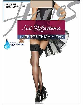 Lace Top Thigh Highs Stockings Hanes Silk Reflections Women's Stretch Wicking