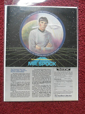 1985 Print Ad The Hamilton Collection STAR TREK Mr. Spock Collector's Plate