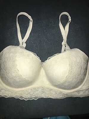 4793c803176bd Victorias Secret Pink M D-DD Push Up Coconut cream medallion Lace Bralette  Bra