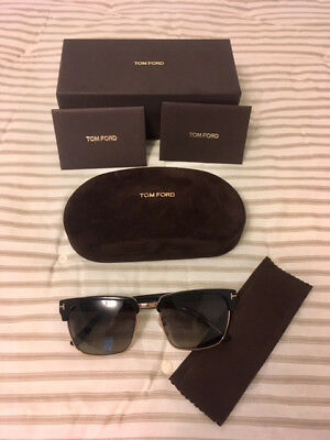 70b705e3786 Tom Ford Men s River Clubmaster Sunglasses in Shiny Black Polarised --  BRAND NEW