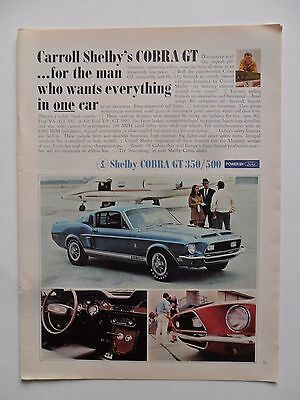 1968 Print Ad Cobra GT Shelby Sports Car Automobile ~ The Man Wants Everything