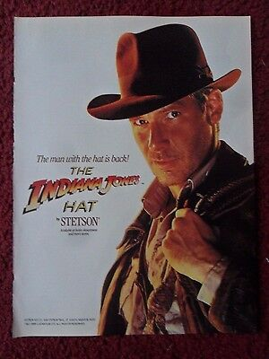 1989 Print Ad STETSON Fashion Hats ~ Harrison Ford as Indiana Jones