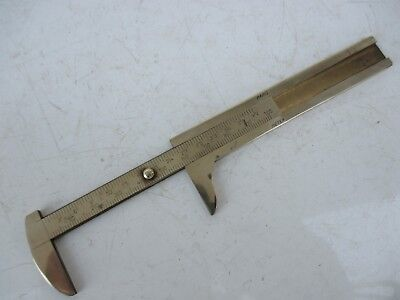 Genuine Antique in Brass Rare Caliper Rule Metric and Inches French Paris Meter