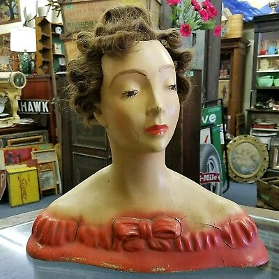 1930's Vintage Lamoureux Mannequin Head Counter Top Store Display Jewelry Hats!!