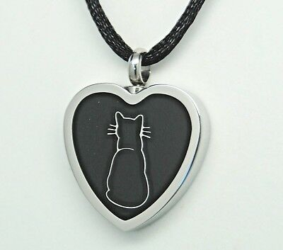 Black Cat Ashes Holder Necklace || Cat Cremation Jewelry || Engraveable