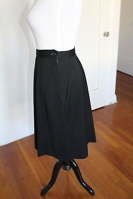 Vintage 40s 50s Classic Black Rayon Pin Up Rockabilly A-Line Skirt W 27
