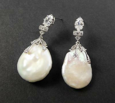 Shiny Silver Rhodium Plated CZ Large White Freshwater Coin Pearl Drop Earrings