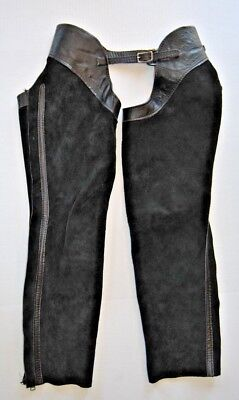 Chaps Black Suede Leather Schooling Cowboy Horse Riders  Size Youth 32 X 22 X 27