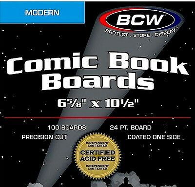200 BCW Modern Comic Boards Acid Free Archival 6 5/8 Inches Wide Storage