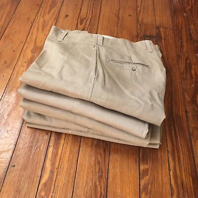 Vintage 1940s 50s WWII US Cotton Khaki Pants Trousers Lot of 5 Pairs