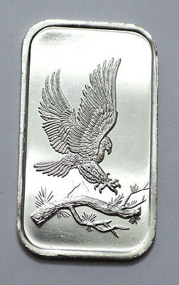 RARE Vintage Flying  Eagle 1oz .999 Fine Silver Bars by SilverTowne , proof