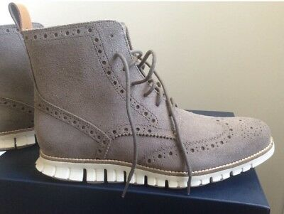 f5e3f2e5167b  300 Cole Haan Zerogrand Wingtip Boots Gray Suede Water Resistant Men s 9.5