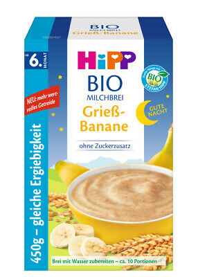 1 Box of HiPP Organic Cereal - Goodnight Biscuit Pudding & Semolina Banana -500g