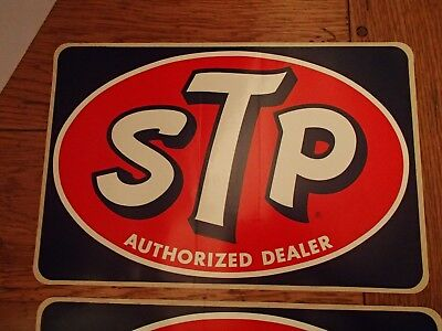 LOT OF 4 !! vintage STP Authorized Dealer sticker, 8 1/2 x 12 1/2 inches, racing