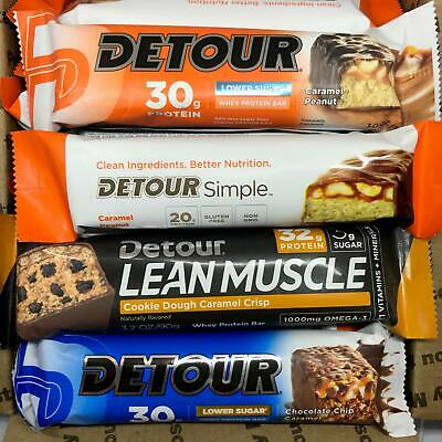 Assorted Detour Whey Protein Bars  ~ 42 bars ~ 20 - 30g protein ~ Free Ship