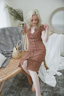 French Polka Dots Retro Vintage Button Picnic Tea Dress
