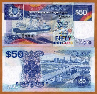 Singapore, 50 dollars, ND (1987), P-22a, UNC > Boat > Scarce