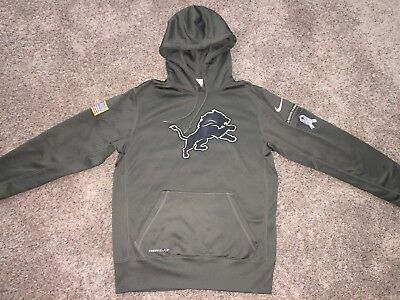 Nike Mens Salute To Service NFL Detroit Lions Pullover Hoodie Size M  Therma-Fit 70b675cfb