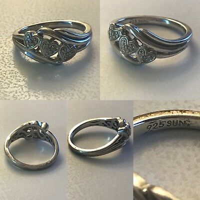 STERLING SILVER SUN 925 With Diamonds Triple Heart Ring 6 75