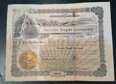 1912 Certificate for Shares of Stock in Nevada Sugar Company
