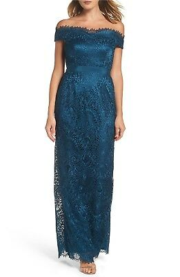 Nwt329 Adrianna Papell Off The Shoulder Beaded Gown Bluesilv Sz