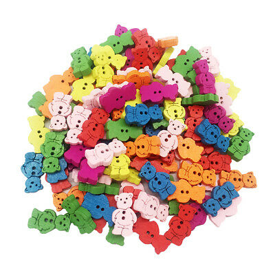 100Pcs Novelty Baby Animal Bear Shaped Buttons for Clothing Sewing 20mm