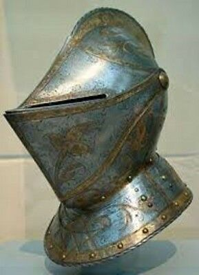 Medieval Helmet Knights Templar Crusader Closed Armour Helmet with free stand