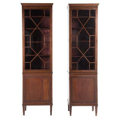 Near Pair Federal style inlaid mahogany bookcases Lot 1170