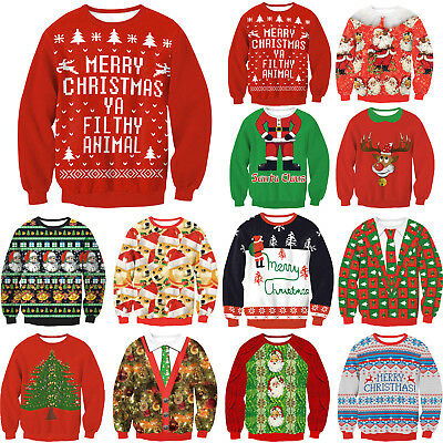 Unisex Ugly Christmas Sweater Santa Women Men Xmas Jumper Sweatshirt Tee Tops