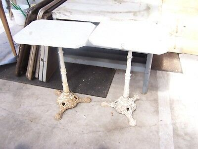 2 antique french bistro tables cast iron base marble top ornate c 1890's