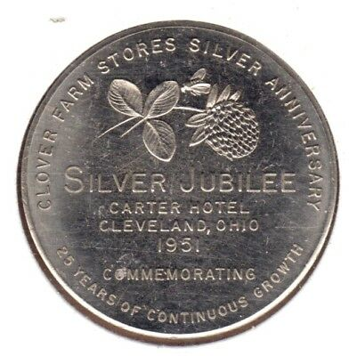 1951 Clover Farm Stores Silver Anniversary Silver Jubilee Medal - Cleveland, OH