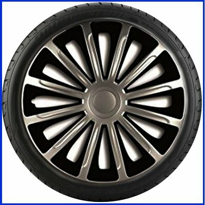 "14"" 14 Inch Car Van Wheel Trims Hub Caps Covers Sport Alloy Tyre Black & Silver"