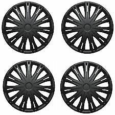 "13"" 13 Inch Car Van Wheel Trims Hub Caps Covers Plastic & Fixing Rings Black X 4"