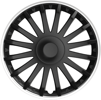 "14"" 14 Inch Car Van Wheel Trims Hub Caps Covers Fixing Rings Black & Silver Trim"